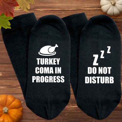 Turkey Coma Thanksgiving Socks