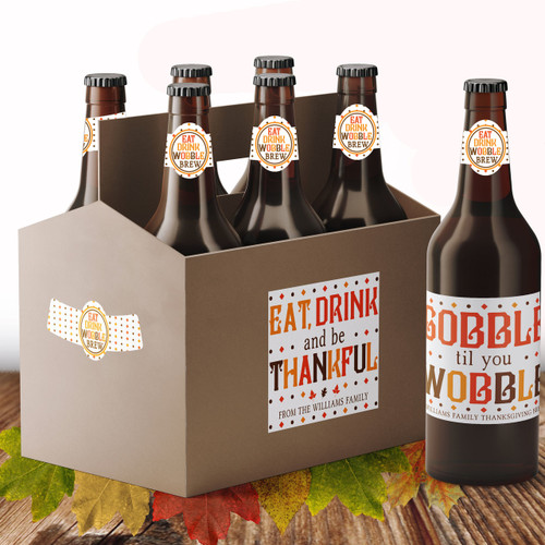 Personalized Gobble Til You Wobble Thanksgiving Beer Labels