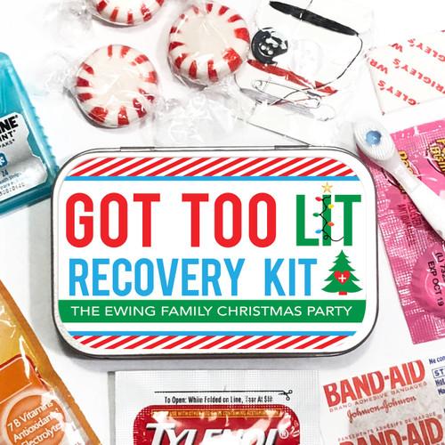 Custom Party Favor Tins: Got Too Lit Christmas Hangover Recovery Kit