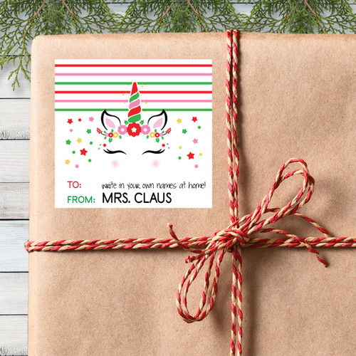 Personalized Magical Holiday Unicorn Gift Stickers