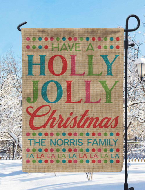 Personalized Holly Jolly Christmas Garden Flag
