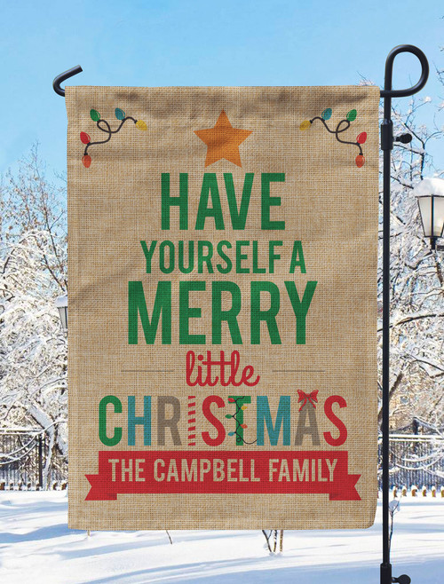 Personalized Merry Little Christmas Garden Flag