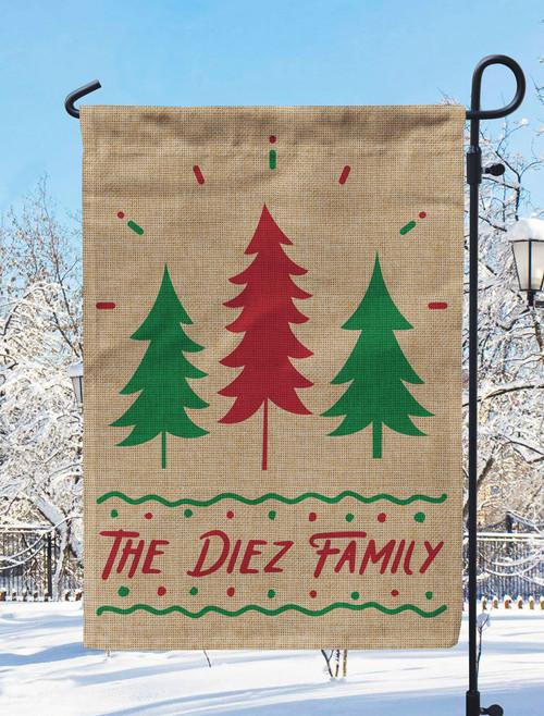 Personalized Holiday Spirit Burlap Garden Flag - Custom Christmas Outdoor Decor