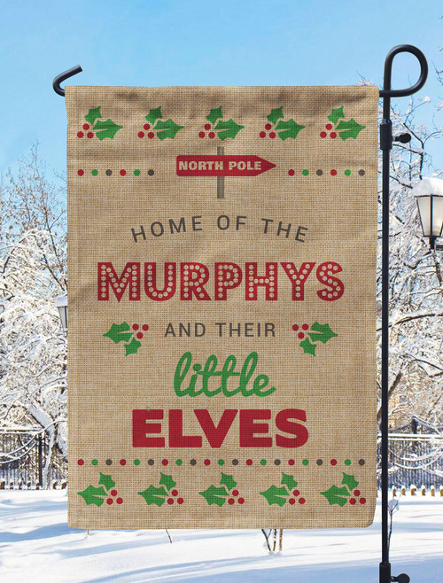 Personalized Little Elves Christmas Burlap Garden Flag