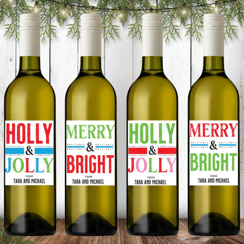 Personalized Merry & Bright Christmas Wine Labels