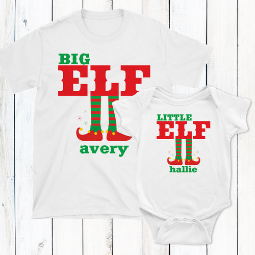 Personalized Big & Little Elf T-Shirt Set