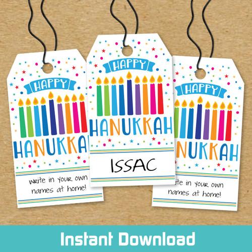 Printable Menorah Magic Hanukkah Gift Tags (Instant Download)