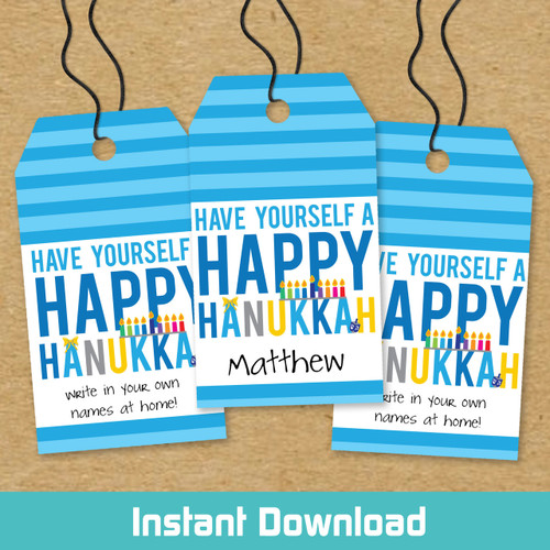 Printable Have A Happy Hanukkah Gift Tags (Instant Download)
