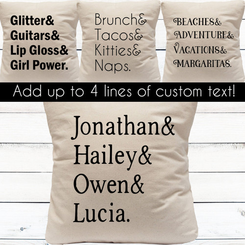 Design Your Own: Left Aligned List Custom Throw Pillow Cover