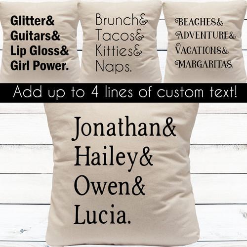 Design Your Own: Left Aligned List Custom Throw Pillow Cover
