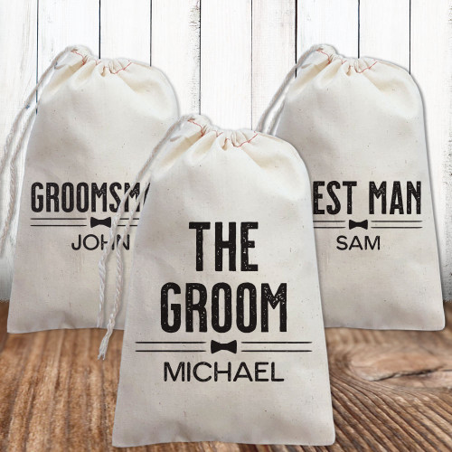 Custom Canvas Favor Bags: Groom Crew