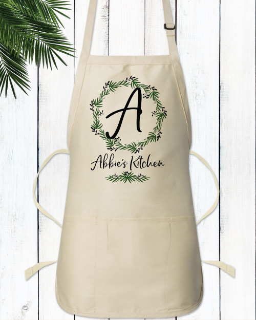 Personalized Lovely Leaf Wreath Monogrammed Apron