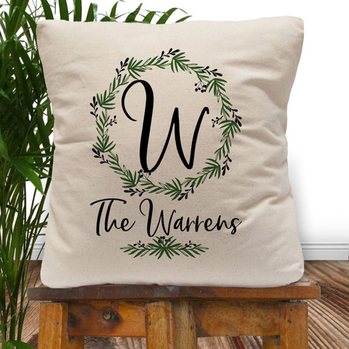 Personalized Lovely Leaf Wreath Throw Pillow Cover