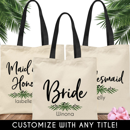 Custom Tote Bags: Lovely Leaf Bridal Party