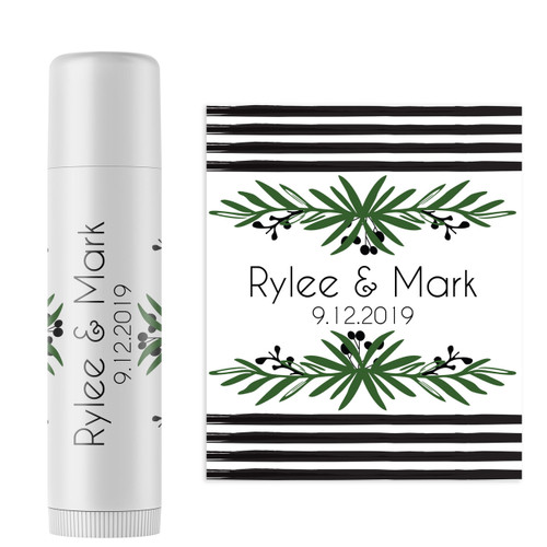 Personalized Lovely Leaf Wedding Lip Balm Favor Stickers