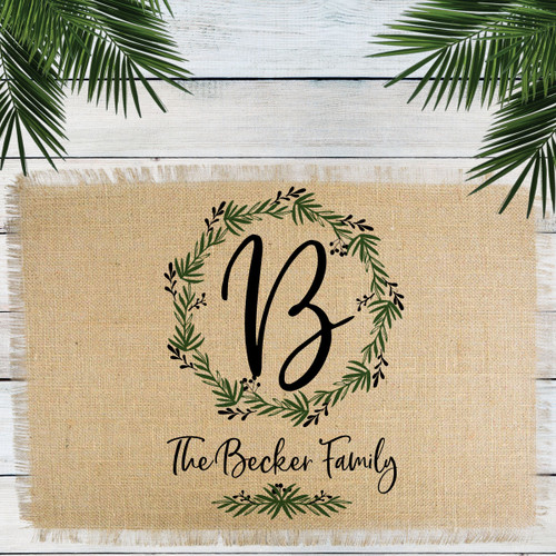 Personalized Lovely Leaf Wreath Monogrammed Jute Placemat