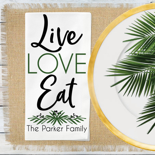 Personalized Lovely Leaf Live Love EatNapkin Set