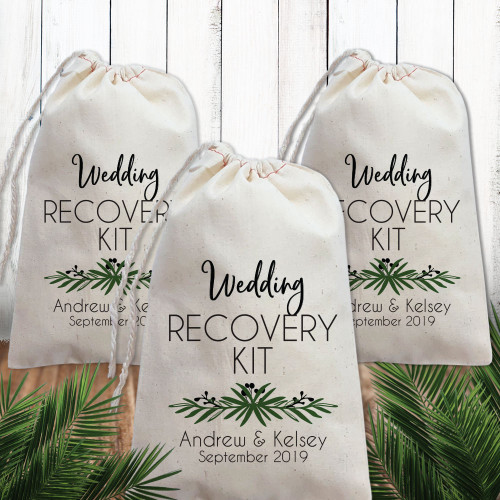Custom Canvas Favor Bags: Lovely Leaf Wedding Recovery Kit