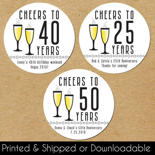 Personalized Favor Stickers: Cheers To The Years Birthday or Anniversary