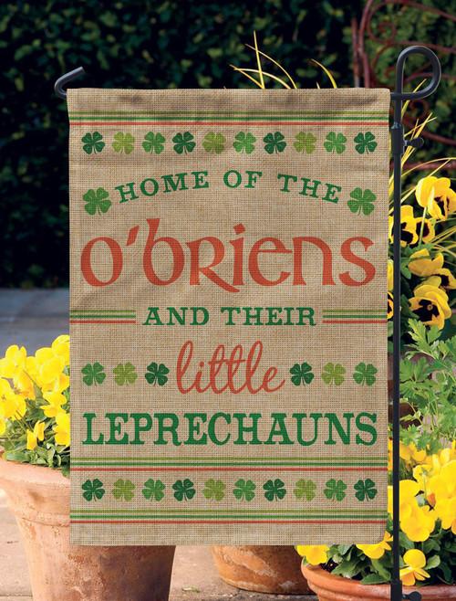 Personalized Little Leprechauns Burlap Garden Flag