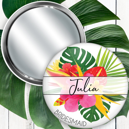 Personalized Modern Tropical Floral Pocket Mirror  - Bridesmaid & Bridal Party Gift
