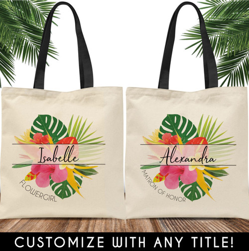 Custom Tote Bags: Modern Tropical Floral Bridal Party