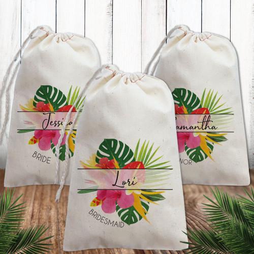 Custom Canvas Favor Bags: Modern Tropical Floral Bridal Party