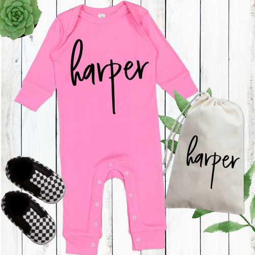 The Brooklyn Romper Pinks - Personalized Baby Girl Romper