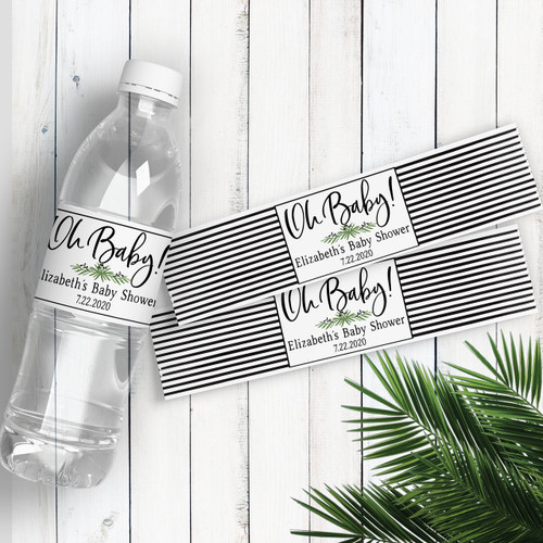 Personalized Baby Shower Water Bottle Labels: Lovely Leaf Greenery