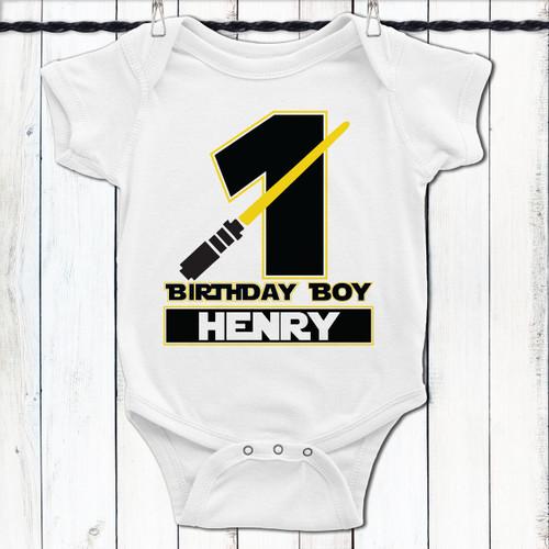 Personalized Jedi First Birthday Boy T Shirt