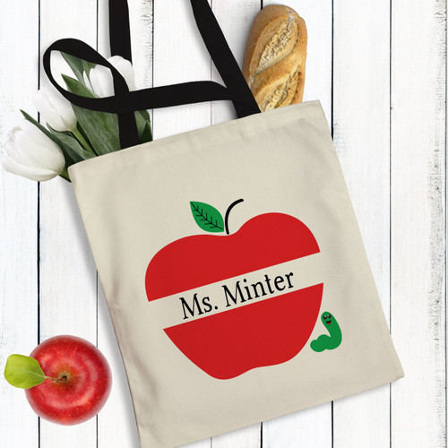 Personalized Apple of My Eye Teacher Tote Bag