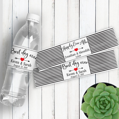 Personalized Wedding Water Bottle Labels: Heart and Arrow