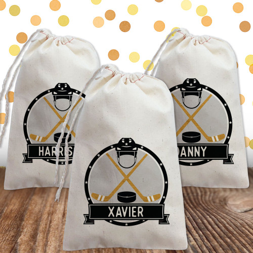 Personalized Party Favor Bag: Hockey