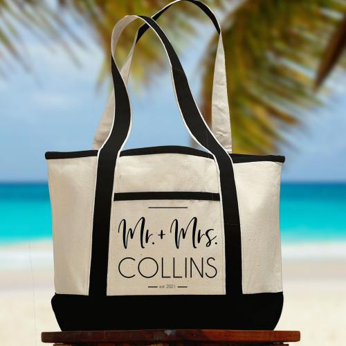 Personalized Modern Mr. & Mrs. Beach Tote Bag - Wedding Gift for Newlyweds or Honeymoon