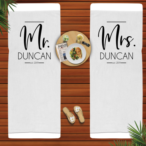 Personalized Modern Mr. and Mrs. Beach Towel