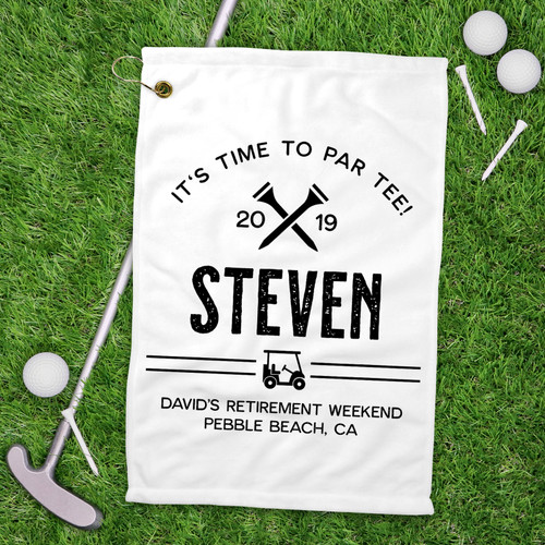 Personalized It's Time To Par-Tee Golf Towel