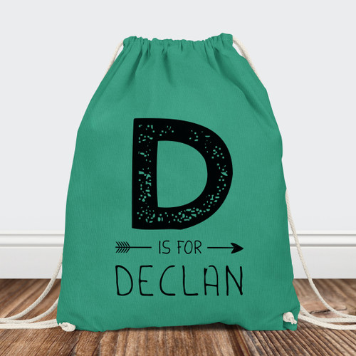 Personalized Drawstring Backpack: J is for Joy