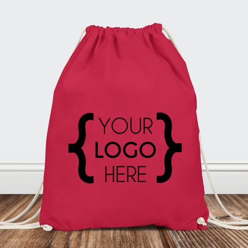 Custom Logo: Drawstring Backpack (Black Print Only)