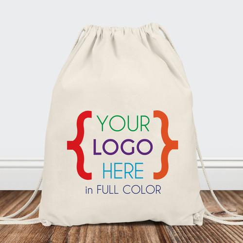 Custom Logo: Canvas Drawstring Backpack (Full Color Print)