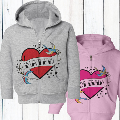 Personalized Tattoo Heart Hoodie