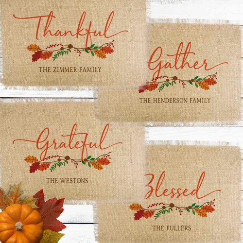 Personalized Grateful Gatherings Jute Placemat