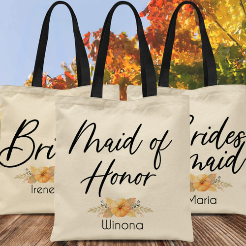Custom Tote Bags: Fall Wedding Bridal Party