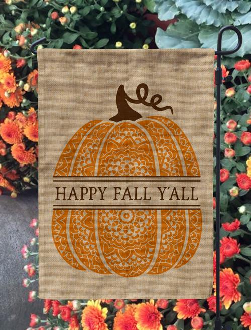 Personalized Boho Pumpkin Burlap Garden Flag