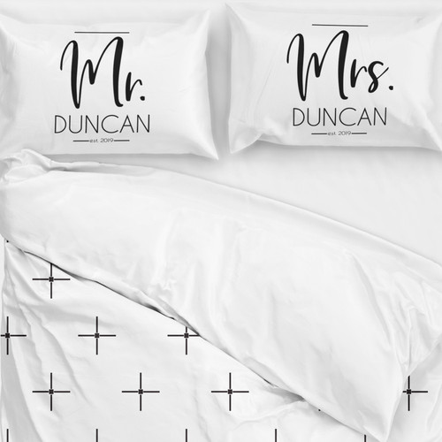 Personalized Modern Mr. & Mrs. Pillowcases