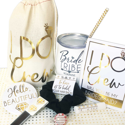 Personalized Gold Diamond Bridal Party Gift Bag Set