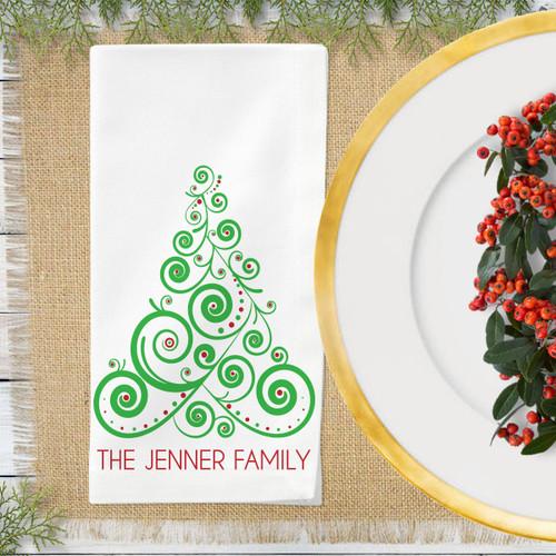 Personalized Boho Christmas Tree Napkin Set