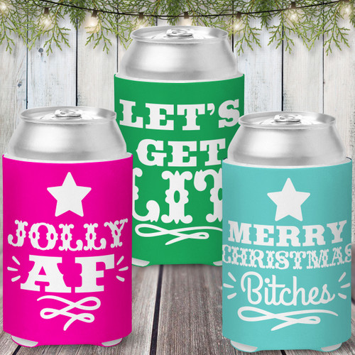 Colored Can Coolers: Christmas Cheers