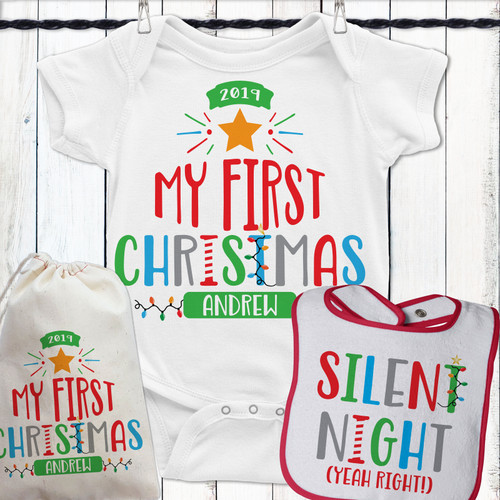 Personalized My First Christmas Baby Set