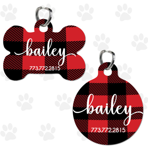 Personalized Pet Tag: Perfectly Plaid