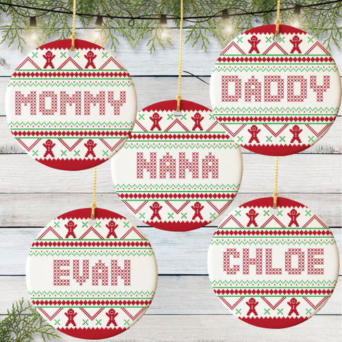 Personalized Gingerbread Sweater Christmas Ornament